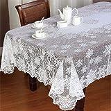 Wawer Weihnachts Tischdecke Decken - Vintage Spitze Tischdecke Weiße Tischtuch Home Party Hochzeit Weihnachts Dekoration - Rund und Rechteck Decke (B)