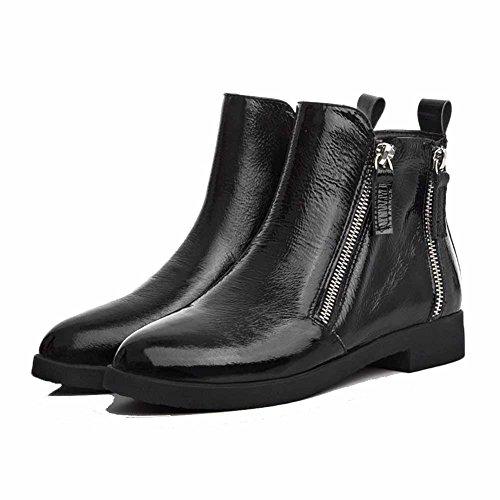 Niedrig Damen spitze Metallisch Agoolar Mit Stiefel Absatz Schwarz Niedriger Reißverschluss FS5anaHq