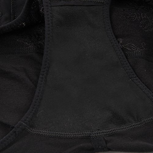 YuanDian Donna Post Parto Intimo Contenitivo Ricamo Guaina Contenitiva Alta Vita Dimagranti Traspirante Slip Mutande Modellante Slimming Waist Lingerie Shapewear 1# Nero