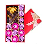 Kyerivs 12Pcs Rose Savon Décoratifs Parfumé Bain Fleur Bouquet Fleur D'or Boîte...