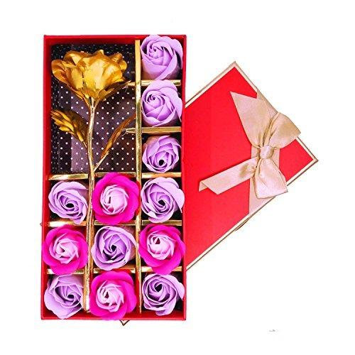 Keyrivs - set regalo contenente 12 saponette da bagno profumate a forma di rosa e 1 fiore dorato, ideale per anniversario, compleanno, matrimonio, san valentino e festa della mamma