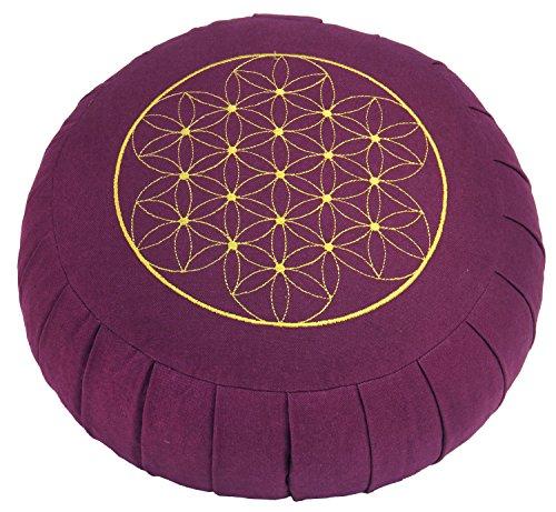 """Meditationskissen ZAFU BASIC (aubergine) rund mit Dehnfalten, mit Stickerei """"Blume des Lebens"""", Dinkel-Füllung, Ø 32 cm,17cm hoch, Yogakissen, Sitzkissen"""