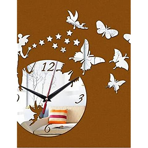 Da Wu Jia art Home Decoración de pared Reloj pared Efecto espejo Reloj de pared DIY Diseño moderno cuento de Cartoon Star Wall Sticker Salón ,