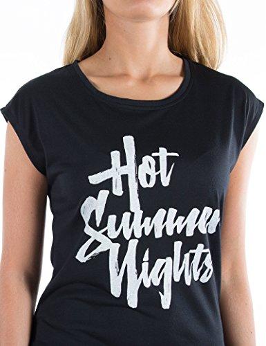 Timezone Damen T-Shirts Hot Summer Nights Top Schwarz (Caviar 9151)