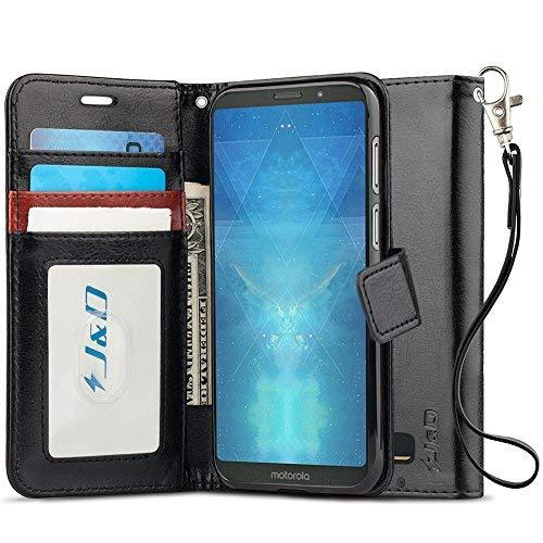 JundD Kompatibel für Moto Z3 Play Leder Hülle, [Handytasche mit Standfuß] [Slim Fit] Robust Stoßfest PU Leder Flip Handyhülle Tasche Hülle für Motorola Moto Z3 Play Hülle - Schwarz