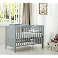 """MCC Grey Wooden Baby Cot Bed """"Orlando"""" With Top Changer & Water repellent Mattress"""