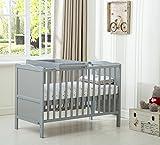 "MCC® Grey Wooden Baby Cot Bed ""Orlando"" With Top Changer & Aloe Vera Water repellent Mattress(Orlando TC Grey)"