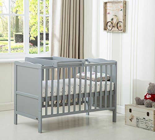 "MCC Grey Wooden Baby Cot Bed ""Orlando"" With Top Changer & Water repellent Mattress"
