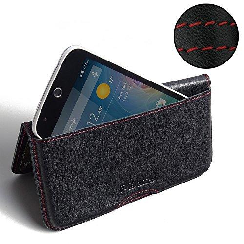 PDAir Acer Liquid Z320 Leder Brieftasche Folio Handy Hülle (Rot Stich), Brieftasche Echtleder Klapphülle Flip Hülle Etui, Luxus Prämie Brieftasche Tasche für Acer Liquid Z320