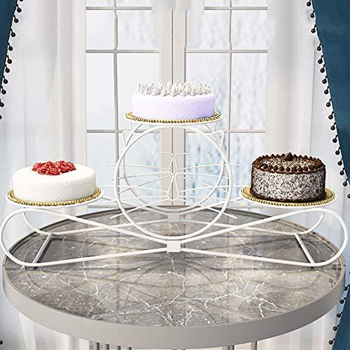 YJIUJIU Kuchenständer, 3-stufige Cat-Modellierung Hohl Metallkuchenstand- Cupcake Stand- Dessert Stand-Tea Party Servierplatte für Hochzeitsfeier mit Stangenfüße,White
