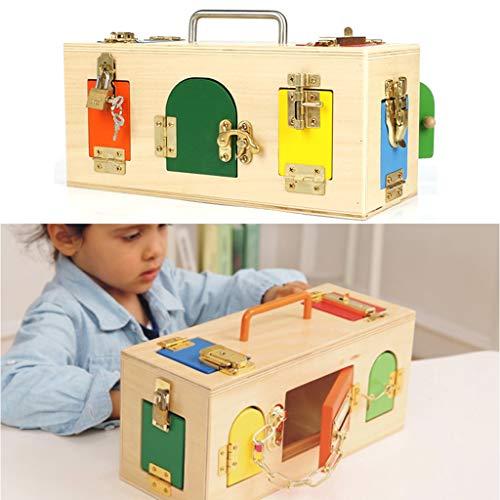 KESOTO Juego Educativo Caja de Madera para Niños con 10 Tipos Diferentes de Cerraduras Equipos Montessori Ejercicio Coordinación de Mano y Ojo