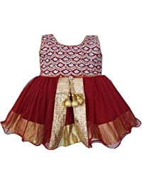 ALL ABOUT PINKS' Ethnic Frock in Maroon Colour for Girl Baby