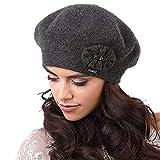 Kamea Pesaro Dame Baskenmütze Kopfbedeckung Herbst Winter, Dunkelgrau,Uni
