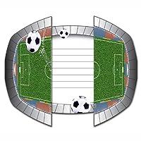 """Article: 8 cartons d'invitation """"Football"""", Couleur: blanc, noir, vert, Matériau: Carton (carton d'invitation), papier (enveloppe), Taille: env. 15 x 10 cm (plié)"""