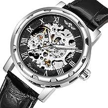 Gute Classic Reloj de Pulsera mecánico y automáticos, de Estilo Steampunk, con Estructura Plateada