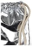 Eight2Nine Turnbeutel Hipster im coolen Metallic-Look | Sportbeutel | Gym Bag mit weißen Kordeln silver one size - 2