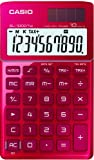 Casio SL-1000TW-RD Solar-Powered Desk Calculator with Glossy Metal Finish / 10 Digits / Large LC Display / Red