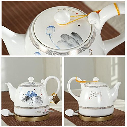 BCQ Ceramic Electric Kettle Chinese Ceramics Chinese Classical Lotus Watercolor Painting Energy Saving Safety 1L Electric Kettles