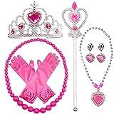 MMTX Prinzessin Dressing Up Kostüm Zubehör 6 Stück Geschenk-Set für Prinzessin Cosplay Handschuhe Tiara Zauberstab und Halskette