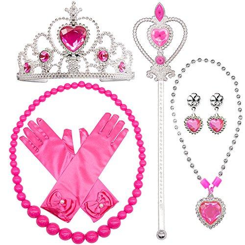 sing Up Kostüm Zubehör 6 Stück Geschenk-Set für Prinzessin Cosplay Handschuhe Tiara Zauberstab und Halskette (Kreative Halloween Kostüme Für Mädchen)