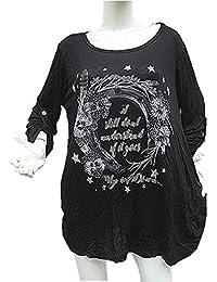 56fe0222300 fashionfolie Femme tshirt top grande taille unique 44 46 48 50 52 haut  fluide tunique manche longue…
