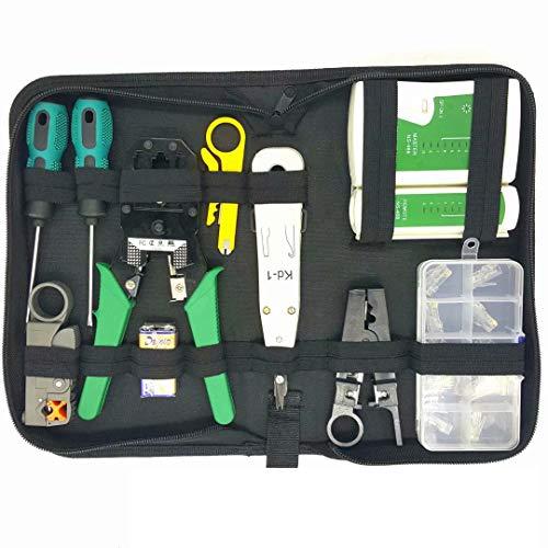 RJ45-Koax-Crimper-Stecker Crimp-Netzwerk-Toolkit-Set 12-teiliges Netzwerktester-Set A047 Reparaturset für Zuhause -