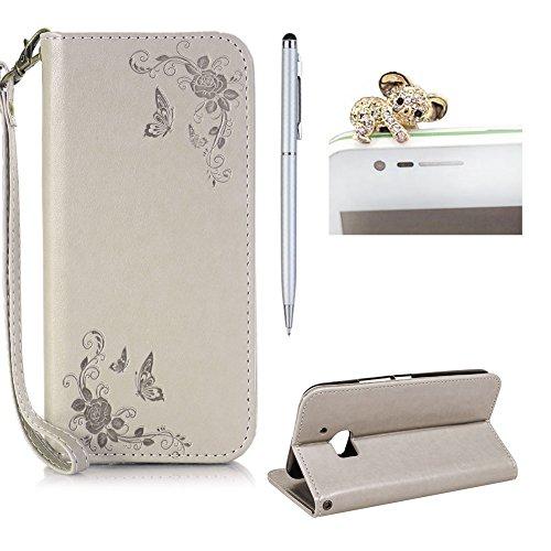 SKYXD Leder Hülle für HTC 10 Rosen Blumen und Schmetterlings Muster,PU Folio Klappbar SchutzHülle [Brieftasche Kartenfach / Magnet / Standfunktion / Trageschlaufe] KlappHülle für mit [Koala Handyanhänger + Eingabestift] 3 in 1 Zubehör Set Handy Tasche Etui for HTC 10 Bookstyle Flip Case Leather Cover With [Stylus and Dust Plug]- Grau
