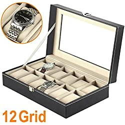 Beyondfashion 12 Slots Watch Box Faux Leather Wood Display Case Organizer Glass Top Storage
