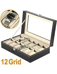 Flissy - Estuche para relojes con 12 compartimentos, color negro