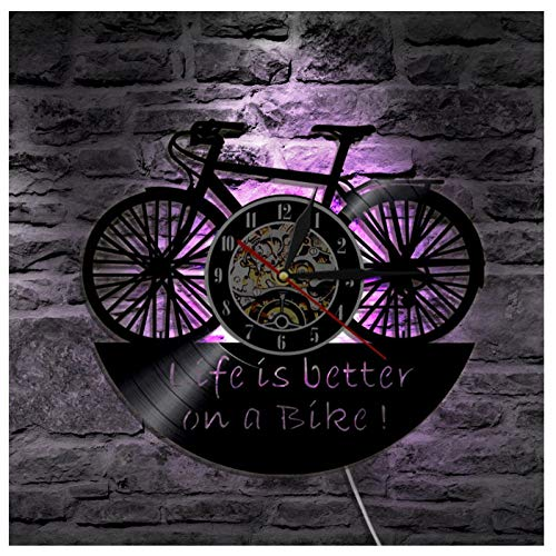 AIYOUBU Familie Handwerk Schallplatte Vinyl Stille Wanduhr Fahrrad Manuelle DIY-Kreative Led-leuchten Mit 7 Farben Hintergrundbeleuchtung Fernbedienung Wandleuchten Nacht 12 Zoll