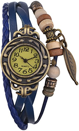 Habors Multiband Watch Blue Bracelet With Leaf Charm