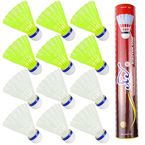 Hysagtek 12 Stücke Nylon Badminton Federbälle Indoor Outdoor Sport Hight Speed Training Badminton (Weiß und Gelb)