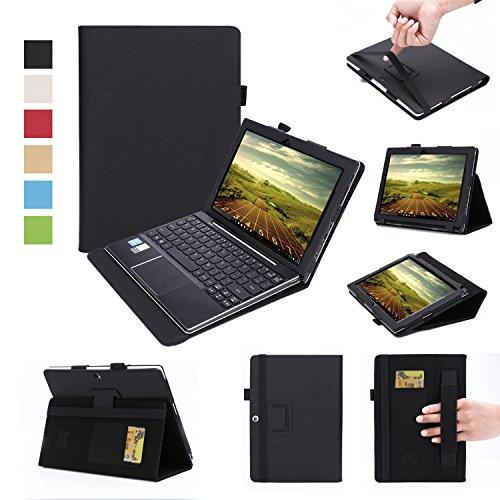 ISIN Tablet Fall Serie Premium PU-Leder Schutzhülle für Lenovo Ideapad MIIX 310 10,1 Zoll Windows 10 Convertible 2 in 1 Tablet PC mit Velcro Handschlaufe und Kartenschlitz (Schwarz)