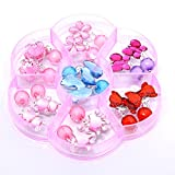 ADFEN 7 Pairs Clip-on Earrings with Pads Party Favor Pretend Play Kid Dress Up Accessories