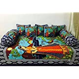 Stop N Shopp Cotton Jaipuri Diwan Sets Of 1 Bed Sheet(70 X 100 Inches),2 Bolster Cover (Size_16 X 32 Inches) And 5 Cushion Cover (Size_16 X 16 Inches)