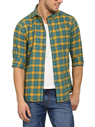 10. Abof Men Teal Blue & Yellow Checkered Slim Fit Casual Shirt