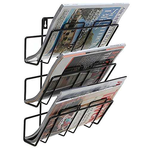 3Etagen Modern Schwarz Wand montiert Metall Bar Magazin Rack/Dokument Datei Ordner hängende Aufbewahrung Organizer (Datei-organizer Wand Hängende)