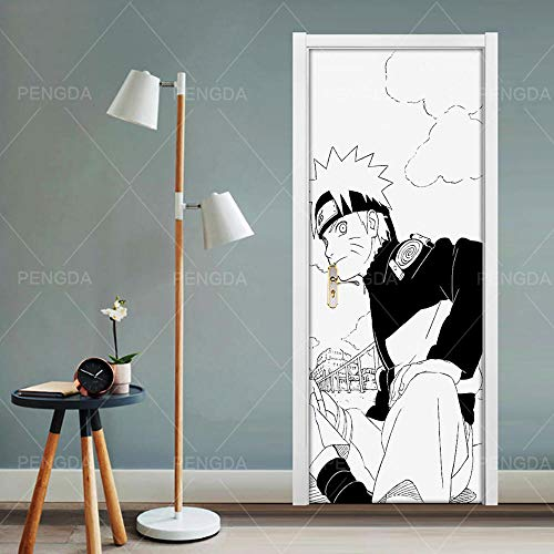 3D türaufkleber bad - Wohnkultur Aufkleber Poster 3D Kreative Anime Tür Aufkleber Schwarz Weiß Druckkunst Bild Wasserdichte Tapetenkleister Kinderzimmer - DIY Druck Vinyl Abnehmbare