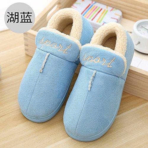 DogHaccd pantofole,In inverno la pelle ? home pantofole di peluche coppie pacchetto con calda felpa antiscivolo pantofole di cotone Il lago blu1