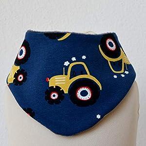 Baby Lätzchen Sabberlatz Halstuch Bib Jungen 0-3 Jahre Fleece Jersey blau gelb Traktor