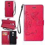 Guran® PU Ledertasche Case für Honor 5X Smartphone Flip Cover Wallet und Stent-Funktions Hülle Geprägtes Schmetterling Muster Etui - Rosenrot