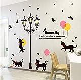 Kreativität schwarze Katzen unter Straßenlaterne Wandaufkleber Farbe Ballon Vogel Schlafzimmer Wohnzimmer Korridor Wanddekor abnehmbar