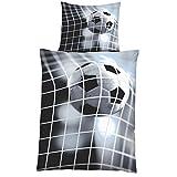 JEMIDI Bettwäsche Microfaser 2-teilig Fußball 135cm x 200cm Bett Wäsche Bettengarnitur Bettgarnitur Bettbezug Bettbezüge Singlebett Design 1