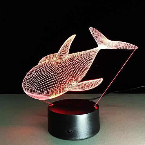 orangeww 3D Nightlight/Baby Led Lights Lampada da tavolo Usb/Batterie a secco Lampade da tavolo Illuminazione camera da letto/Arte e artigianato ideali/Regalo di Halloween Balena di m