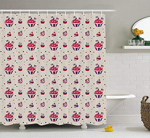tgyew USA Shower Curtain, Cupcakes with National Flags Cute Cafe Yummy Homeland July Fourth Caricature, Fabric Bathroom Decor Set with Hooks, 60W X 72L Inche Long, Beige Navy Blue Red