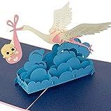 3D-Pop-Up-Karte, Klapperstorch mit Baby, Geburtskarte, Glückwunschkarte zur Geburt eines Jungen - handgemachte Grußkarte, Babykarte Gratulation, Geschenkkarte mit Umschlag, Geburtstagskarte, blau