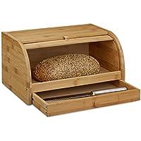 Relaxdays–Caja de Pan con Ruedas y cajones, de Madera de bambú, preserva el Aroma, panera con Tapa Enrollable, tamaño: 21x 40x 28cm, Madera Natural, Color marrón