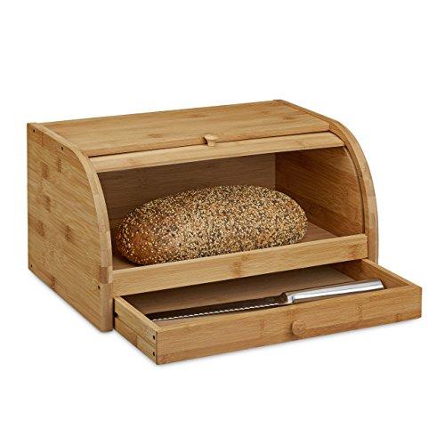 Holz Gewürz-fach (Relaxdays Rollbrotkasten mit Schublade, Bambus, aromadicht, Brotkasten mit Rolldeckel, HxBxT: 21 x 40,5 x 28 cm, Holz, natur)