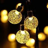oledank Solar Lichterkette, 6M 30 LED 2 Modus Lichterketten Warmweiß, Batteriebetriebene String Lights für Innen, Garten, Hochzeit, Party, Weihnachten usw.