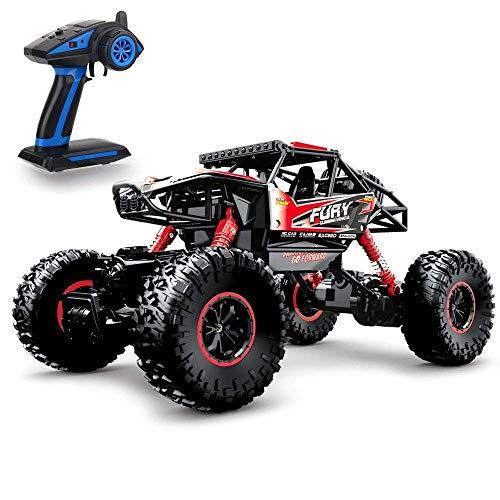 Geekper 1:16 4WD Coche RC Eléctrico Todoterreno Control Remoto RTR Buggy Monster Truck 2.4 GHz de Alta Velocidad con 1 batería Recargable. Color (Rojo)
